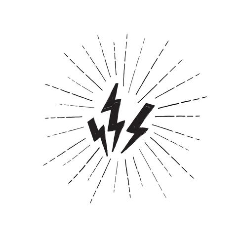 Conjunto de rayo. Icono de huelga de grunge. Señal de poder Rayo vector