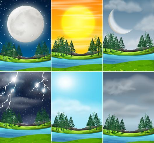 Set of nature landscape different weather