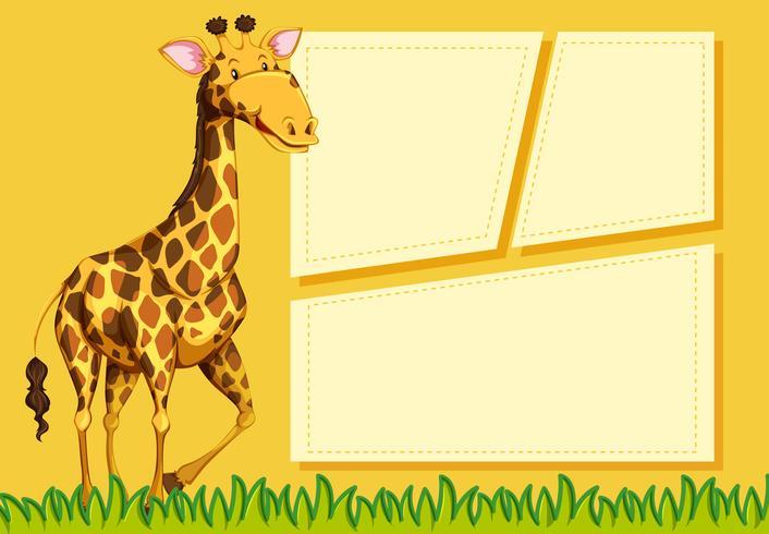 Girafa no modelo de nota vetor