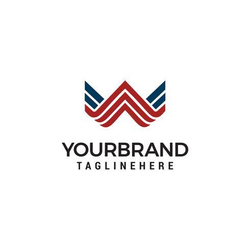 Lettera W monogramma di arte linea. Design del logo creativo.