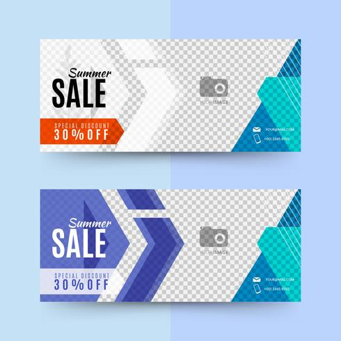 Geometric summer sale banners