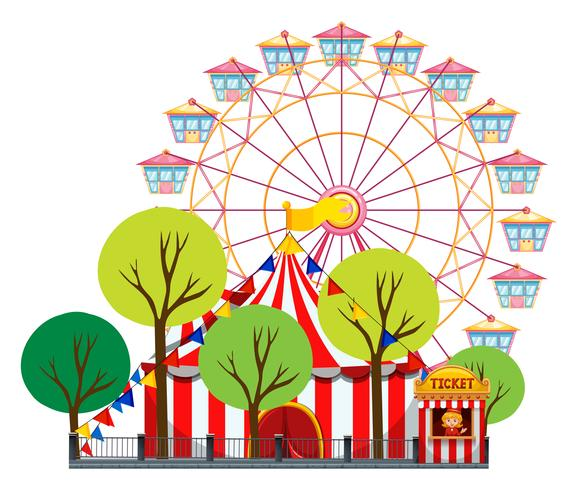 Circus scene with tent and ferris wheel vector