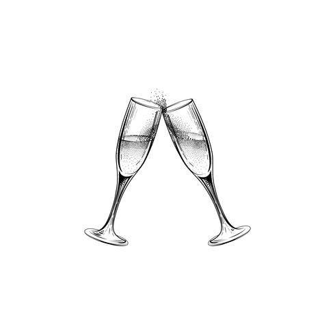 Drink champagne sign. Christmas party icon with clinking wine glass vector