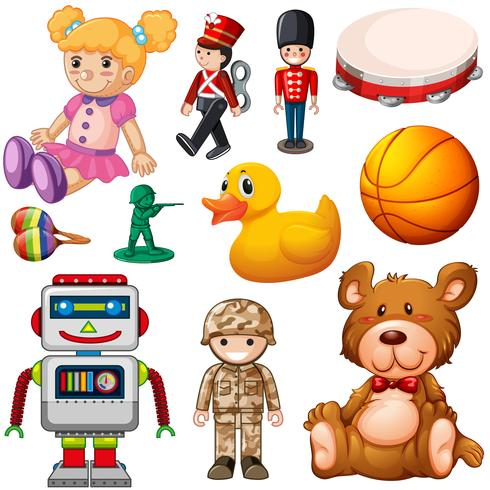 Set of childrens toys vector