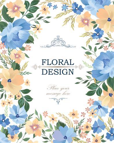 Floral ram bakgrund. Blombukettlock. Blomstra hälsning