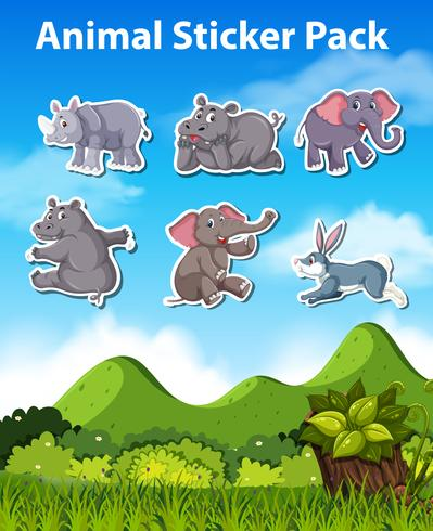 Set of animal sticker vector