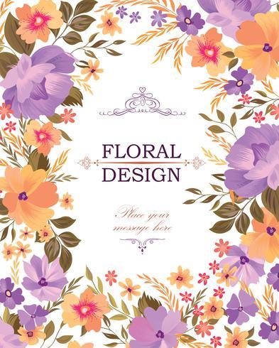 Blomramrammönster. Blomma bukett bakgrund. Hälsningskortdesign