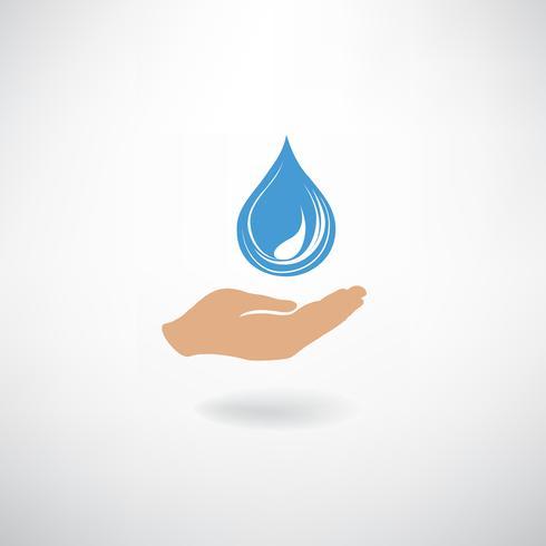 Drop ikon i hand silhuett på en vit bakgrund. Spara vatten s