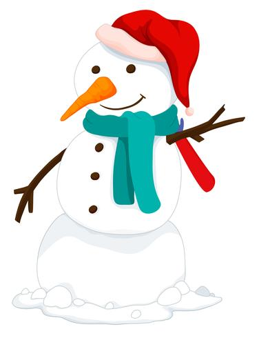 Snowman with hat and scarf vector