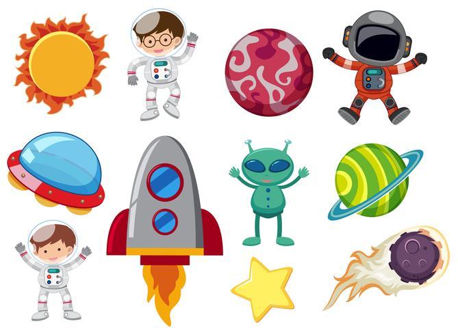 Un conjunto de elementos del sistema solar vector