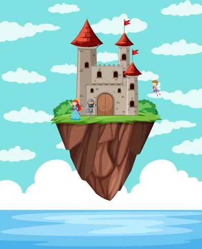 Uma ilha do castelo acima do oceano vetor