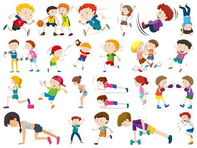 Conjunto de niños deporte vector