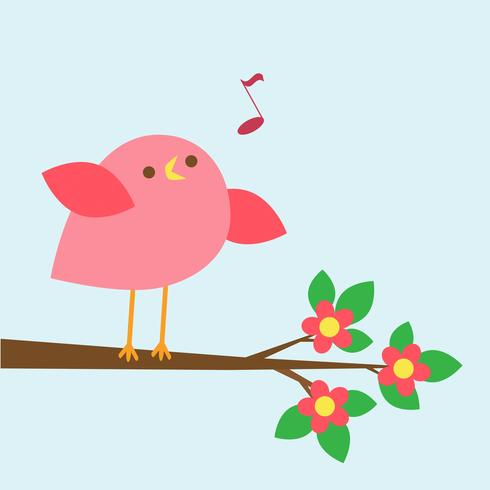 Pássaro rosa bonito canta no ramo de florescência