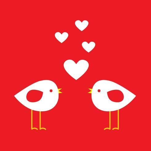 Två söta fåglar med hjärtan - kort för Alla hjärtans dag