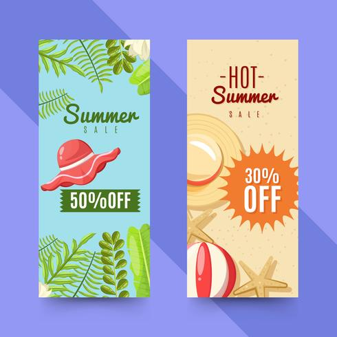 Set of summer sale banners