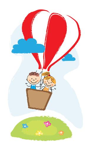 boy and girl aveling by hot air balloon vector