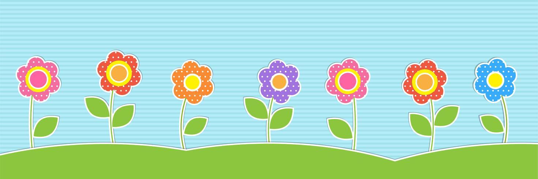 Vector horizontal fundo com flores fofos