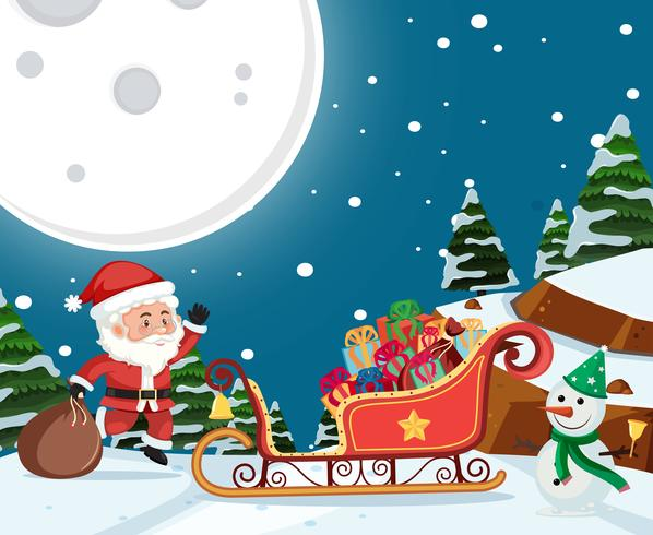Santa delivery gift at night vector