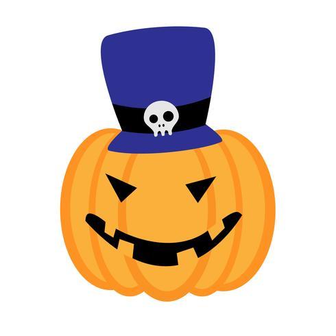 Cartoon halloween pompoen met blauwe hoed geïsoleerd