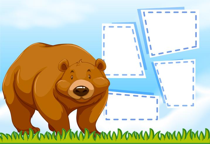 Bear on note template vector