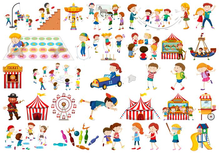 Set of kids playing vector