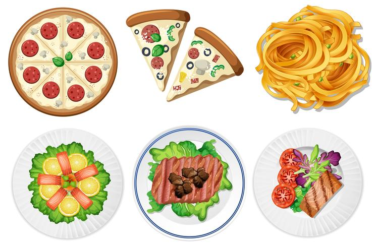 Set of food on white background vector