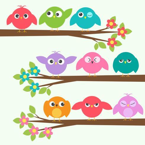 Set van schattige vogels met verschillende emoties op bloeiende tak bomen