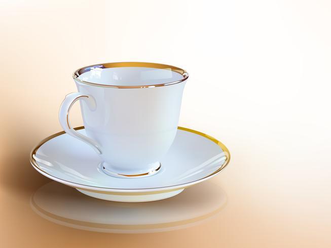 Xícara de café realista de arte vetorial. vetor