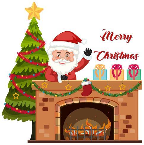 Entrega de Papá Noel por chimenea.