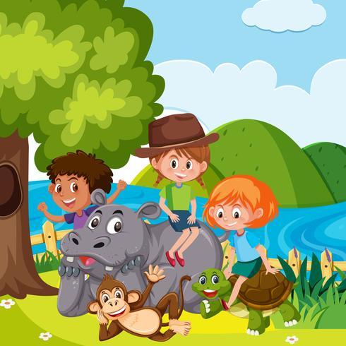 Children with wild animals vector