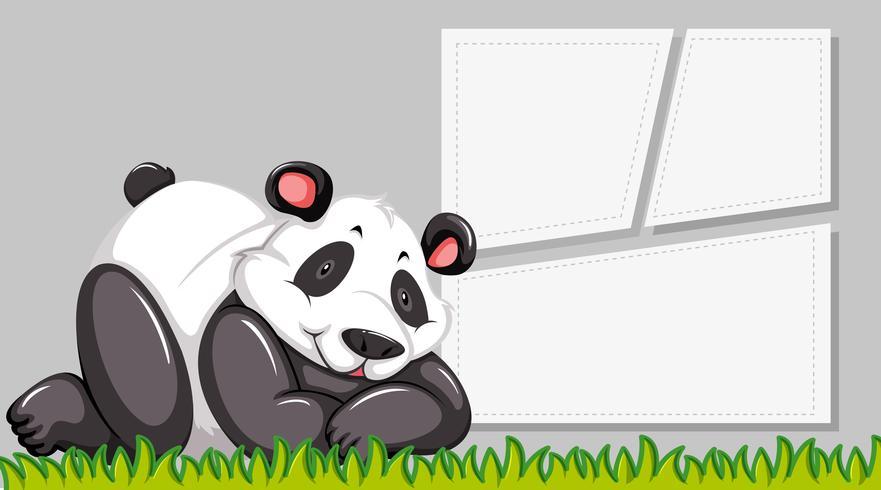 Panda no modelo de nota vetor
