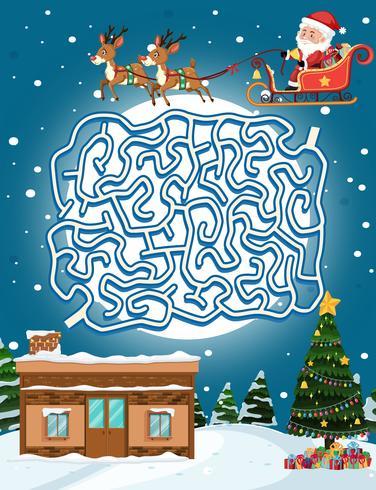 Santa claus maze game template vector