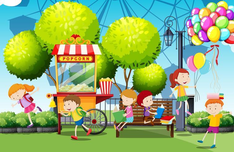 Kinderen met plezier in het park