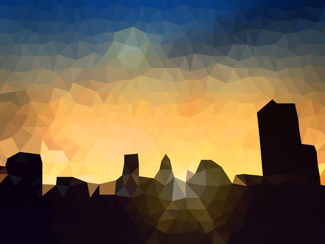 Polygon Vector city silhouette at twilight