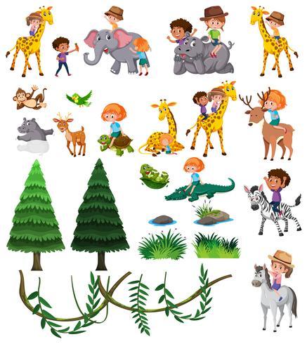 Conjunto de animais selvagens e crianças vetor