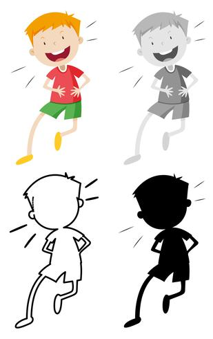 Set of happy boy character vector