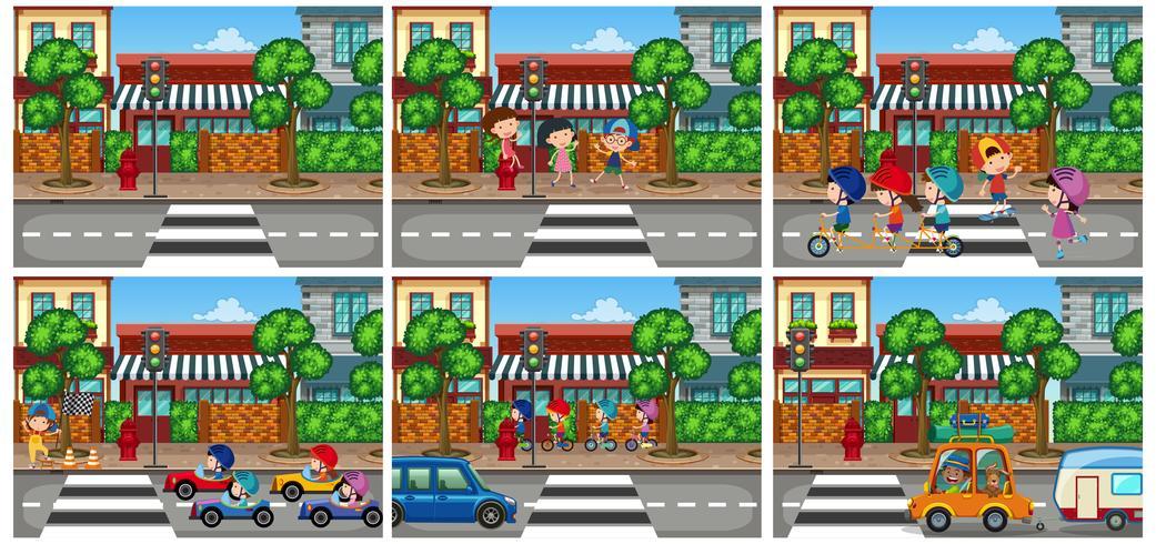 Set of urban scene
