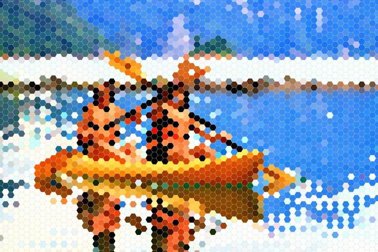 Dos niñas felices reman en canoa, polígono de diseño.