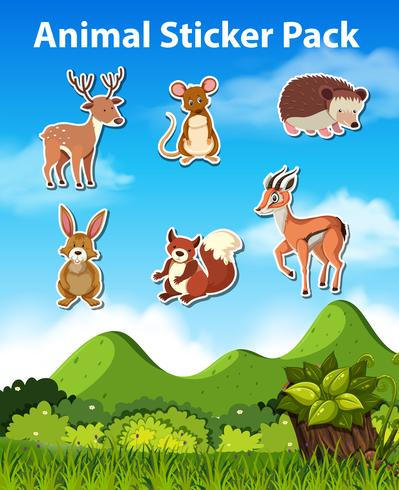 Set of animal sticker pack vector