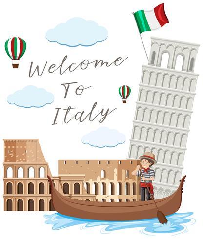Punto di riferimento dell'Italia su fondo bianco vettore