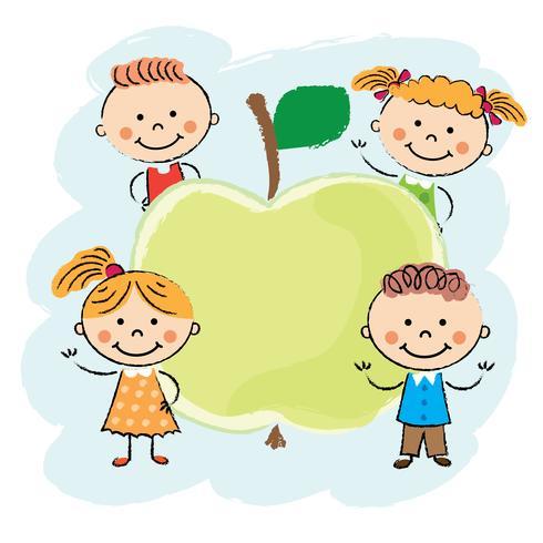 Kids around apple.  vector