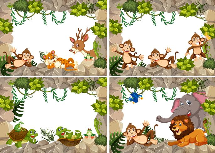 Set di cornice natura animali selvatici