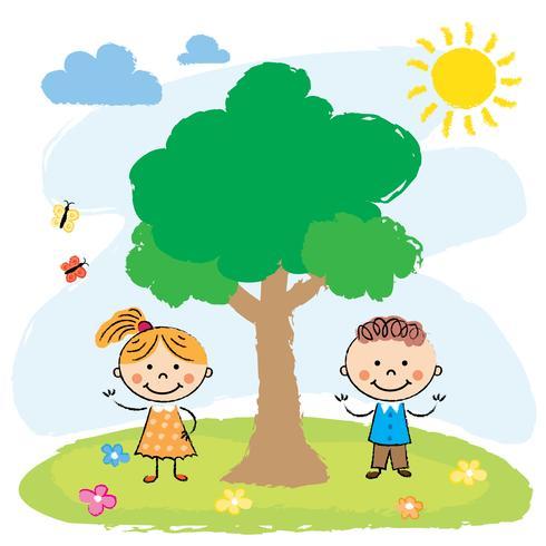 Niño y niña cerca de árbol grande