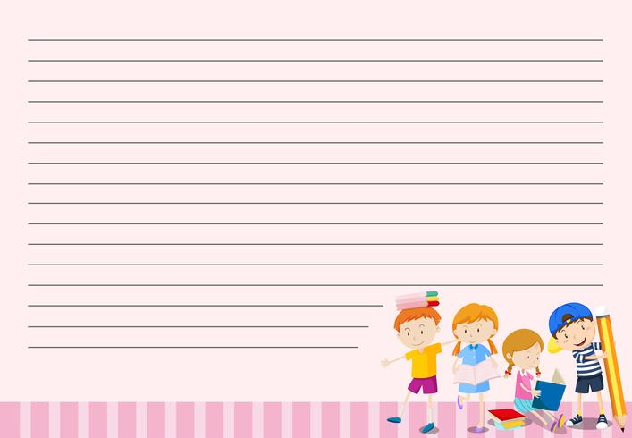 Children on blank note template vector
