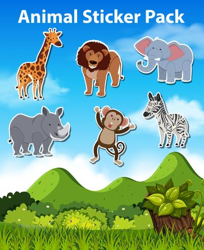 Set di adesivi animali selvatici