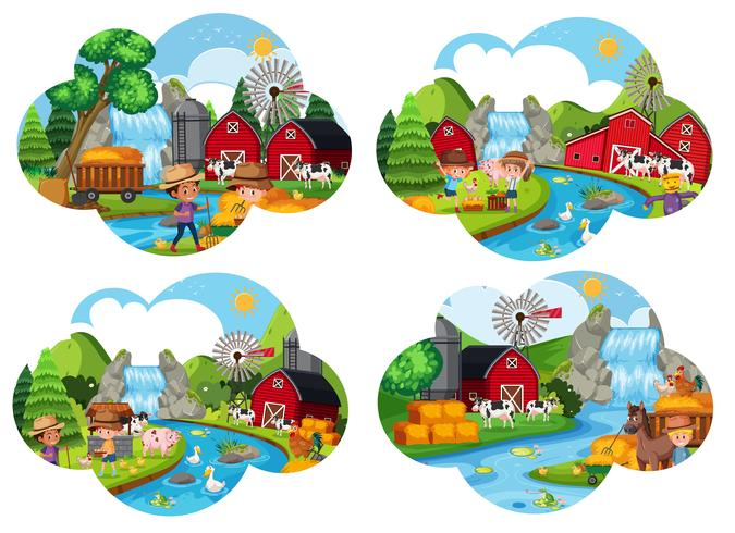 Conjunto de cenas de fazenda vetor