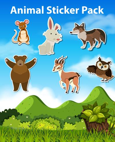 Set of animal sticker vector