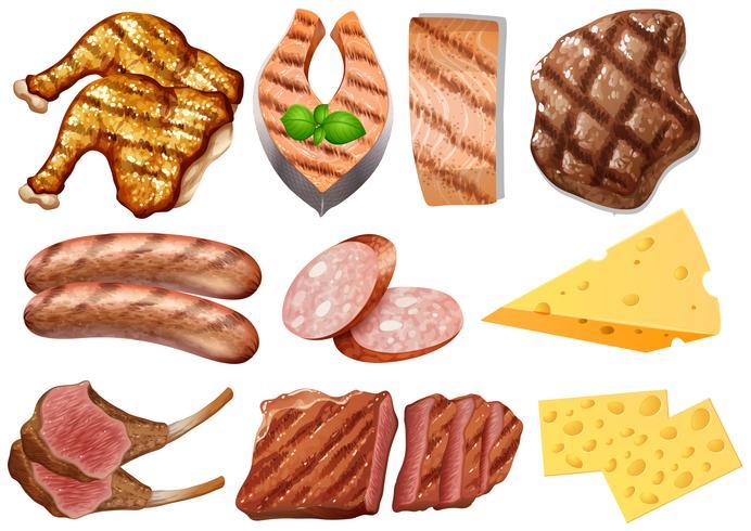 Un conjunto de alimentos de proteínas