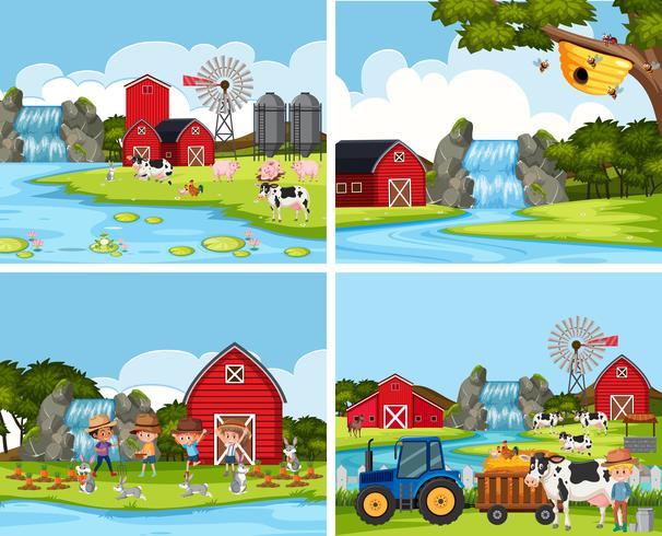 Set of farm scenes vector