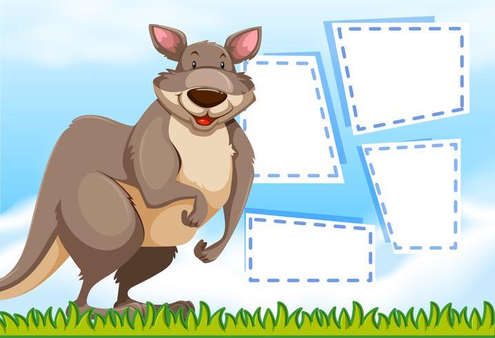 Een kangoeroe op notitiesjabloon